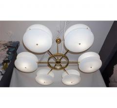 Contemporary Italian Minimalist Brass and White Murano Glass Globe Chandelier - 633954