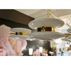 Contemporary Italian Minimalist Brass and White Murano Glass Globe Chandelier - 633955