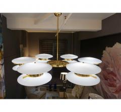 Contemporary Italian Minimalist Brass and White Murano Glass Globe Chandelier - 633956