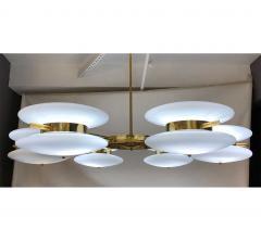 Contemporary Italian Minimalist Brass and White Murano Glass Globe Chandelier - 633957