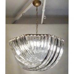 Contemporary Italian Minimalist Curved Crystal Murano Glass Brass Chandelier - 1189212