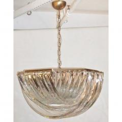 Contemporary Italian Minimalist Curved Crystal Murano Glass Brass Chandelier - 1189214