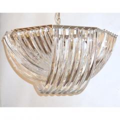 Contemporary Italian Minimalist Curved Crystal Murano Glass Brass Chandelier - 1189215