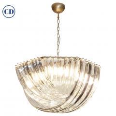 Contemporary Italian Minimalist Curved Crystal Murano Glass Brass Chandelier - 1189300