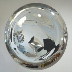 Contemporary Italian Minimalist Curved Silver Glass Round Mirror - 1140812