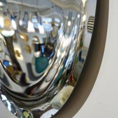 Contemporary Italian Minimalist Curved Silver Glass Round Mirror - 1140816