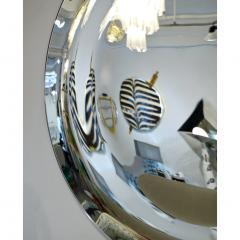 Contemporary Italian Minimalist Curved Silver Glass Round Mirror - 1140817