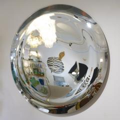 Contemporary Italian Minimalist Curved Silver Glass Round Mirror - 1140818