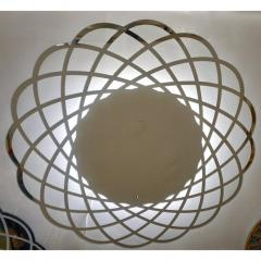 Contemporary Italian Minimalist Lace Decor Scalloped Round Mirror with Light - 1059461