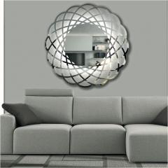 Contemporary Italian Minimalist Lace Decor Scalloped Round Mirror with Light - 1059464