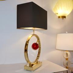 Contemporary Italian Monumental Pair of Brass Red Murano Glass Console Lamps - 1055546
