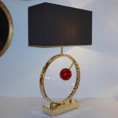 Contemporary Italian Monumental Pair of Brass Red Murano Glass Console Lamps - 1055547