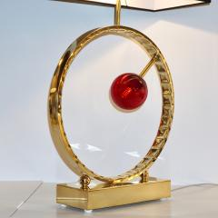 Contemporary Italian Monumental Pair of Brass Red Murano Glass Console Lamps - 1055548