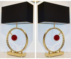 Contemporary Italian Monumental Pair of Brass Red Murano Glass Console Lamps - 1055551