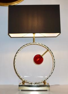 Contemporary Italian Monumental Pair of Brass Red Murano Glass Console Lamps - 1055557