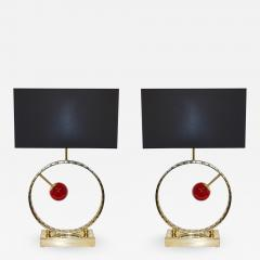 Contemporary Italian Monumental Pair of Brass Red Murano Glass Console Lamps - 1055997
