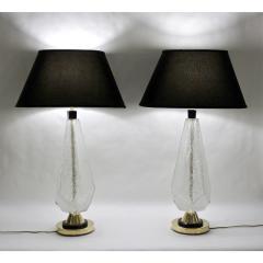 Contemporary Italian Pair of Diamond Cut Black and Crystal Murano Glass Lamps - 1016462