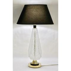 Contemporary Italian Pair of Diamond Cut Black and Crystal Murano Glass Lamps - 1016464