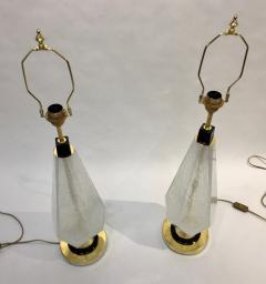 Contemporary Italian Pair of Diamond Cut Black and Crystal Murano Glass Lamps - 1016469