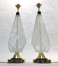 Contemporary Italian Pair of Diamond Cut Black and Crystal Murano Glass Lamps - 1016470
