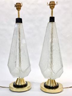 Contemporary Italian Pair of Diamond Cut Black and Crystal Murano Glass Lamps - 1016471
