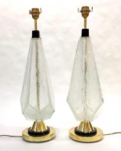 Contemporary Italian Pair of Diamond Cut Black and Crystal Murano Glass Lamps - 1016472