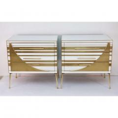Contemporary Italian Pair of Gold Brass and White Glass Chests Side Tables - 500308