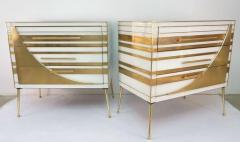 Contemporary Italian Pair of Gold Brass and White Glass Chests Side Tables - 500311