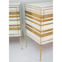 Contemporary Italian Pair of Gold Brass and White Glass Chests Side Tables - 500312