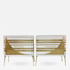 Contemporary Italian Pair of Gold Brass and White Glass Chests Side Tables - 501904