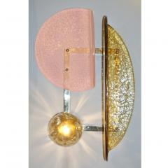 Contemporary Italian Pair of Pink and Amber Murano Glass Gold Brass Sconces - 1464518