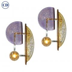 Contemporary Italian Pair of Pink and Amber Murano Glass Gold Brass Sconces - 1464523