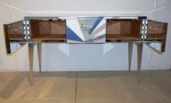 Contemporary Italian Pop Design Colored Glass Console Sideboard on Nickel Legs - 1123333