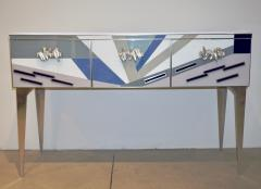 Contemporary Italian Pop Design Colored Glass Console Sideboard on Nickel Legs - 1123339
