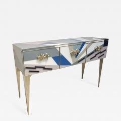 Contemporary Italian Pop Design Colored Glass Console Sideboard on Nickel Legs - 1123431