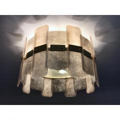 Contemporary Italian Scavo Gray Ivory Murano Glass Organic Flushmount Chandelier - 1146237