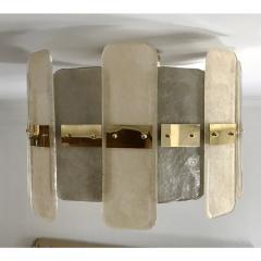Contemporary Italian Scavo Gray Ivory Murano Glass Organic Flushmount Chandelier - 1146238