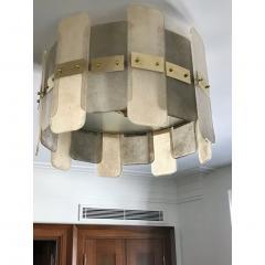 Contemporary Italian Scavo Gray Ivory Murano Glass Organic Flushmount Chandelier - 1146240