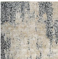 Contemporary Leopard Wool and Silk Wool Rug in Gray Cream and Black - 1406420