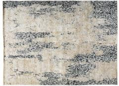 Contemporary Leopard Wool and Silk Wool Rug in Gray Cream and Black - 1406421