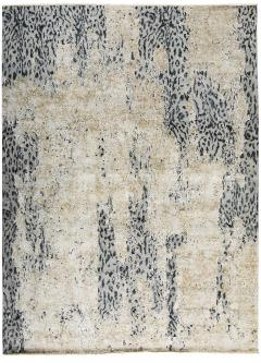 Contemporary Leopard Wool and Silk Wool Rug in Gray Cream and Black - 1406422