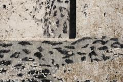Contemporary Leopard Wool and Silk Wool Rug in Gray Cream and Black - 1406444