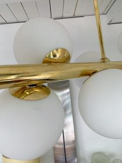 Contemporary Long Brass Chandelier Opaline Italy - 1042898