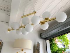 Contemporary Long Brass Chandelier Opaline Italy - 1042899