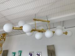 Contemporary Long Brass Chandelier Opaline Italy - 1042901