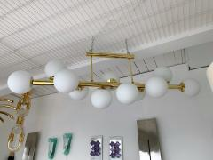 Contemporary Long Brass Chandelier Opaline Italy - 1042902
