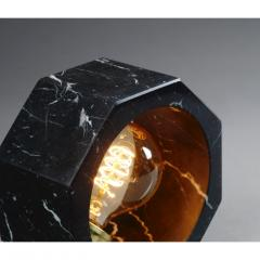 Contemporary Matlight Octagon Minimalist Table Lamp in Black Marquina Marble - 1602929