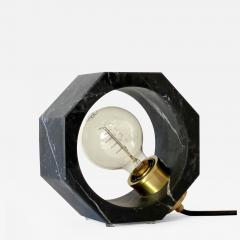 Contemporary Matlight Octagon Minimalist Table Lamp in Black Marquina Marble - 1605261
