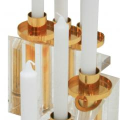 Contemporary Modern French Brass and Methacrylate Pair of Candelabras - 1550021