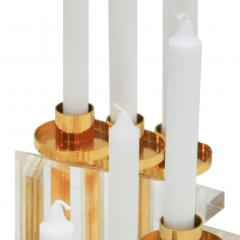 Contemporary Modern French Brass and Methacrylate Pair of Candelabras - 1550022
